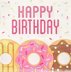 Creative Converting Donut Happy Birthday Lunch Napkins Party Supplies, Multicolor ,5