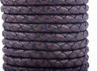 KONMAY 2 Yards 4.0mm Antique Brown Genuine Leather Braided Bolo Leather Cord