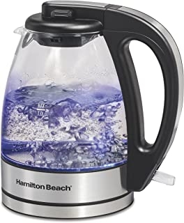 Hamilton Beach 1 Liter Glass Electric Kettle for Tea and Hot Water, Cordless, LED Indicator, Auto-Shutoff and Boil-Dry Protection (40930)