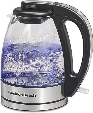 Hamilton Beach Glass Electric Tea Kettle, Water Boiler & Heater, 1 L, Cordless, LED Indicator, Auto-Shutoff & Boil-Dr