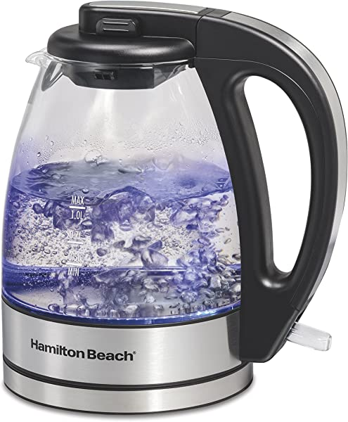 Hamilton Beach 1 Liter Glass Electric Kettle For Tea And Hot Water Cordless LED Indicator Auto Shutoff And Boil Dry Protection 40930