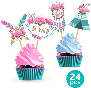 Tribal Boho Cupcake Cake Toppers - Decorations Supplies for Feather Flower Dream Catcher Bohemian Birthday Party Baby Shower Wedding - 24 Pieces