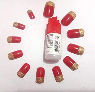 TC 12 Pcs Artificial square Nails Red & golden Glitter with Professional Nail Glue FREE (Reusable)
