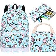 School Backpack for Girls Kids Bookbag Set with Lunch Box School Bags Travel Daypack (E0030-light...