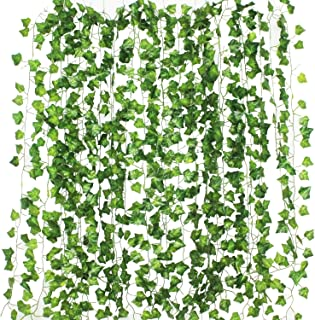 Formemory フェイクグリーン 観葉植物 アイビー 造花 藤 緑 壁掛け 葉 グリーン 12本入り インテリア 飾り ホーム オフィス ベランダ ガーデン 吊り 人工観葉植物 植物装飾 結婚式 パーティー 装飾 植物