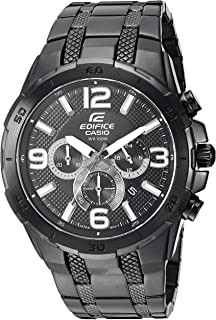 Men's Edifice Quartz Stainless-Steel-Plated Strap, Black, 27 Casual Watch (Model: EFR-538BK-1AVCF)