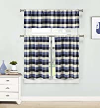 Home Maison - Kingsville Country Plaid Gingham Checkered Kitchen Tier & Valance Set | Small Window Curtain for Cafe, Bath,...