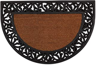 DII Heavy Duty Rubber Welcome Doormat Outdoor, Easy Clean All Weather Floormat, 24x36, Leaves Half Round