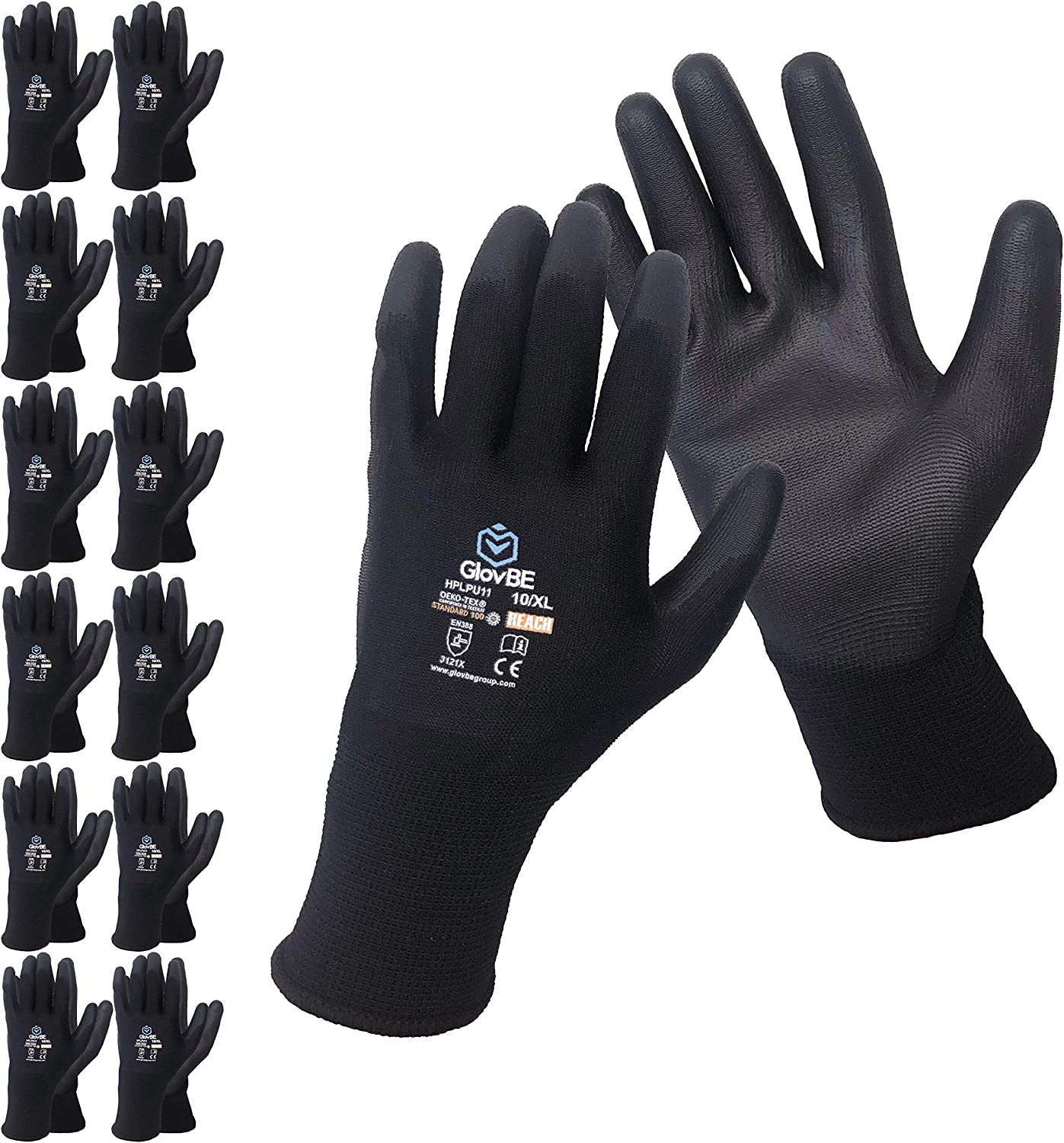 GlovBE 12 Pairs 5 popular Polyester Work Max 73% OFF Coated Polyurethane PU Gloves