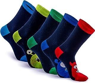 Sonneg, 2 pares de calcetines de fantasía Monstruo para niños, de algodón, colores vivos