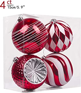 Valery Madelyn 4ct 150mm Traditional Red and White Shatterproof Christmas Ball Ornaments Decoration,Themed with Tree Skirt(Not Included)