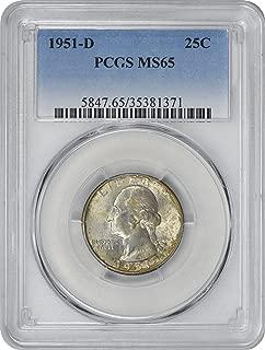 1951-D Washington Silver Quarter, MS65, PCGS