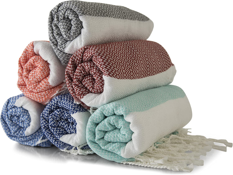 Gute Turkish Bath Beach Hammam Towels, Large Hammam Towel Wrap Pareo Fouta Throw Peshtemal Towel SET of 6 100% Natural Turkish Cotton Foua Blanket Set (Lily)