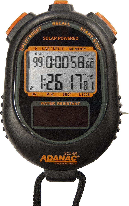 Marathon Adanac Dual Power Solar Stopwatch Timer   Lap and Split