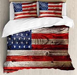 Ambesonne USA Duvet Cover Set, Fourth of July Independence Day Weathered Retro Wood Wall Looking Country Emblem, Decorative 3 Piece Bedding Set with 2 Pillow Shams, Queen Size, Blue Red