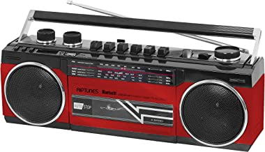 Riptunes Cassette Boombox, Retro Blueooth Boombox, Cassette Player and Recorder, AM/FM/SW-1-SW2 Radio-4-Band Radio, USB, and SD, RED