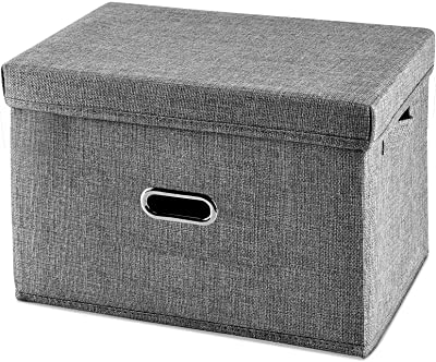 Foldable Storage Bins with Lid[1-Pack]Linen Fabric Storage Bin Collapsible Storage box,Basket with Lids for Bedroom Clothes Storage Containers for Home Bedroom Closet(Gray, Medium)