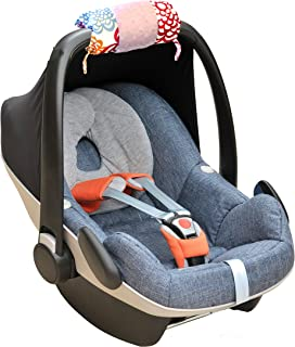 Itzy Ritzy Car Seat Handle Cushion – Foam Padding Alleviates Inner Arm Pain From Carrying an Infant Car Seat; Includes Two Toy Loops to Keep Baby Entertained, Fresh Bloom