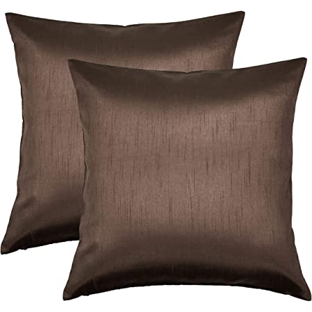 Aiking Home Solid Faux Silk Euro Sham Pillow Cover Zipper Closure 26 By 26 Inches Brown Home Kitchen