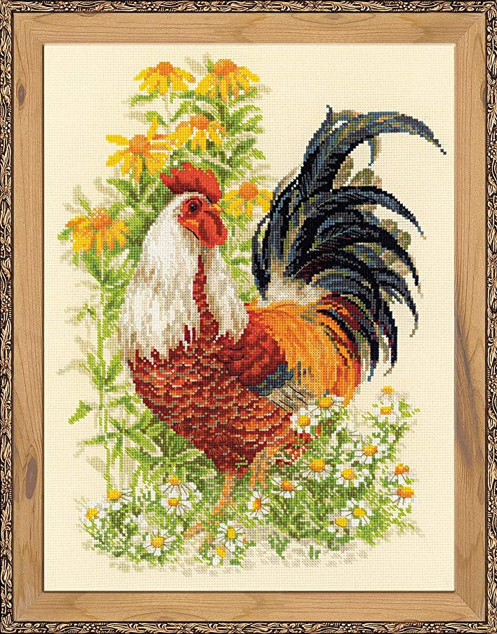 RIOLIS Rooster 14 Count Counted Cross Stitch Kit, 11.75 x 15.75