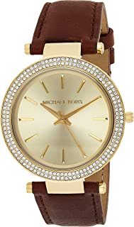 Michael Kors Womens Quartz Watch, Analog Display and Leather Strap MK2363