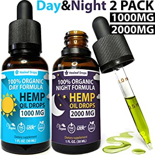 (2-Pack) Hemp Oil Extract for Pain, Anxiety & Stress Relief - New Day & Night Formula - (1000mg + 2000mg) 100% Organic Hemp Extract for Depression and Inflammation Reduction - Grown & Made in USA