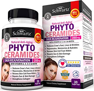 Phytoceramides 350 mg with Biotin 5000 - Gluten Free Powerful Anti-Aging Skin Care Vitamins and Skin Rejuvenation. Plant D...