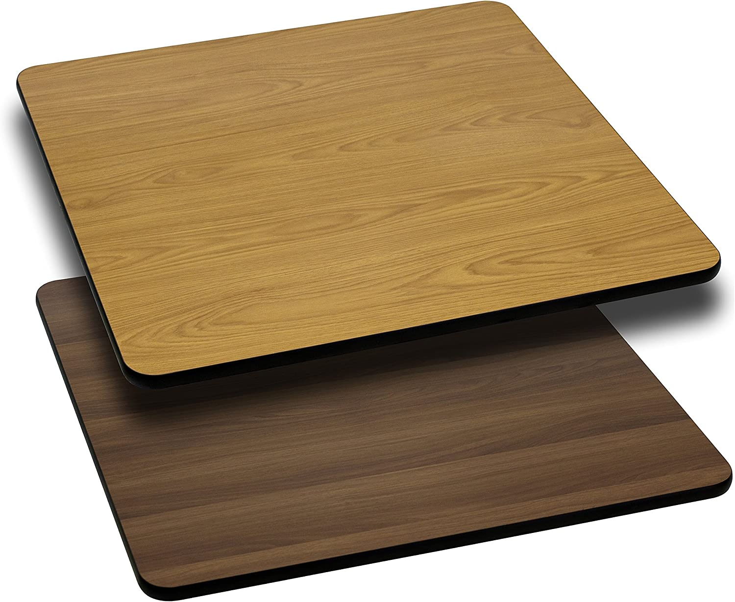 Flash Furniture 30-Inch Square Table Top with Natural or Walnut Reversible Laminate Top