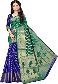 Indian Fashionista Women's Banarasi Silk Saree With Unstitched Blouse Piece