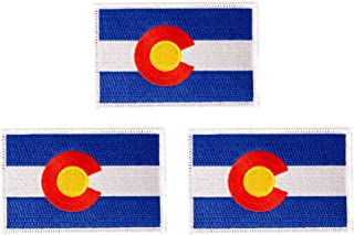 Colorado CO Flag Patch Bulk 3-Pack 3.5Wx2.25H State Iron On Sew Embroidered Tactical Morale Back Pack Hat Bags (3-Pack Patch)