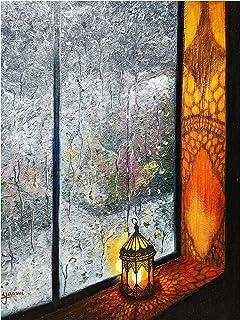 """Original Oil Artwork Titled""""A Rainy Evening"""""""