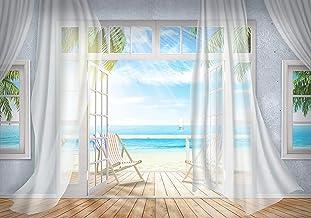 wandmotiv24 Fotobehang Balkon uitzicht op zee strand, bruin XXL 400 x 280 cm - 8 delen Fotobehang, muurschildering, motief...
