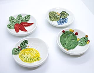 Ciotola Rilievo Flat Peperoncini Ficodindia Limoni Uva Ceramica Artigianale