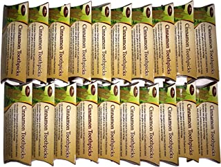 Toothpicks in Handy Pack 800 Count (40 X 20 Packets) Cinnamon Flavored Toothpicks in Small Handy Packets, Each Packet has 40 Toothpicks Cinnamon Oil Coated Wood Toothpicks 2.5 Inches Long