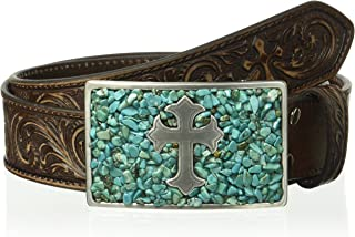 Nocona Belt Co. Women's Distressed Scroll Triquoise Cross Buckle Belt