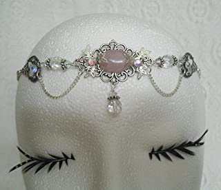 Rose Quartz Circlet handmade jewelry wiccan pagan goddess wicca witch witchcraft headpiece renaissance medieval victorian
