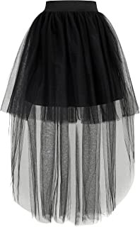 Shinningstar Women's Free Size Mesh Tulle High Low Dance Party Skirt A-Line Petticoat for Dresses