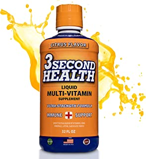3 Second Health Liquid Multivitamin - Vegan - Non GMO - Gluten Free - Dairy Free - Soy Free - No Artificial Flavors or Pre...
