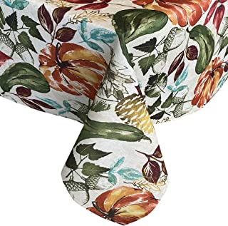 Newbridge Gourd Gathering Contemporary Autumn and Fall Fabric Tablecloth, Thanksgiving Pumpkin, Acorn and Leaf Print, Soil Resistant No Iron Easy Care Tablecloth, 60 Inch x 84 Inch Oblong/Rectangle
