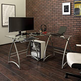 Walker Edison Furniture Company Modern Corner L Shaped Glass Computer Writing Gaming..