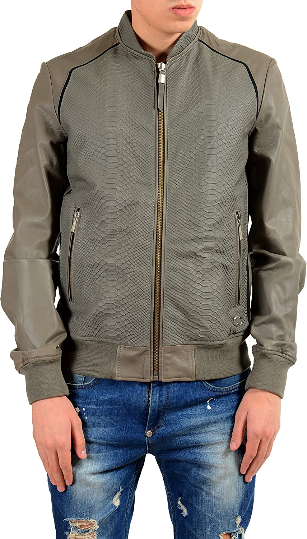 Just Cavalli Men's 100% Leather Gray Full Zip Jacket US S IT 48