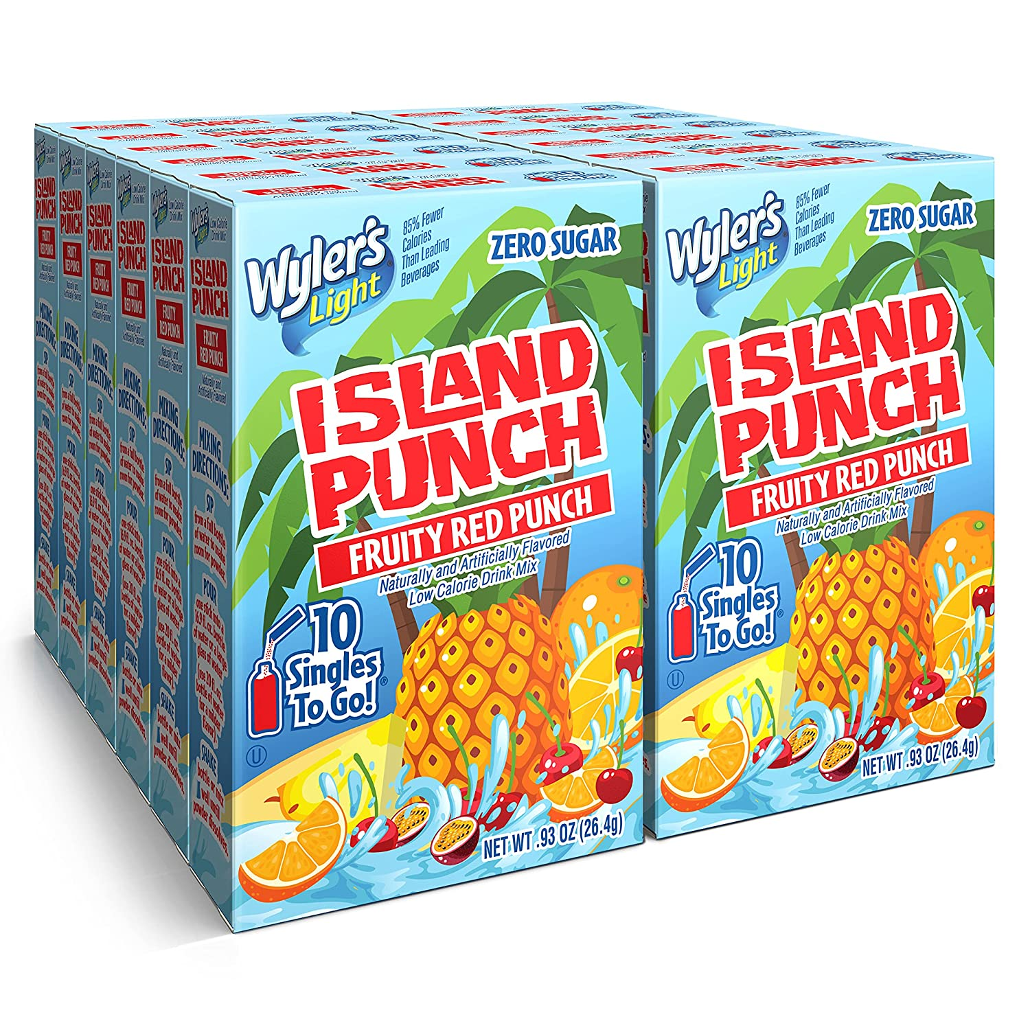 Wyler's Light Island Punch Singles To Go, Fruity Red Punch, 10-Count per Box (12 Pack) – Low Calorie Powdered Drink Mixes, Caffeine Free, Gluten Free, and Zero Sugar
