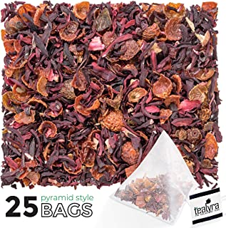 Tealyra - Hibiscus and Rosehips - Herbla Loose Leaf Tea Pyramids Bags - Health Tonic - Supports Healthy Blood Pressure - Caffeine-Free - Vitamins Rich - All Natural - 25 Sachets