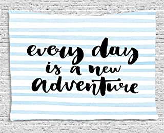 Ambesonne Inspirational Saying Tapestry, Every Day is a New Adventure Calligraphy Text Watercolor Stripes Print, Wide Wall Hanging for Bedroom Living Room Dorm, 60