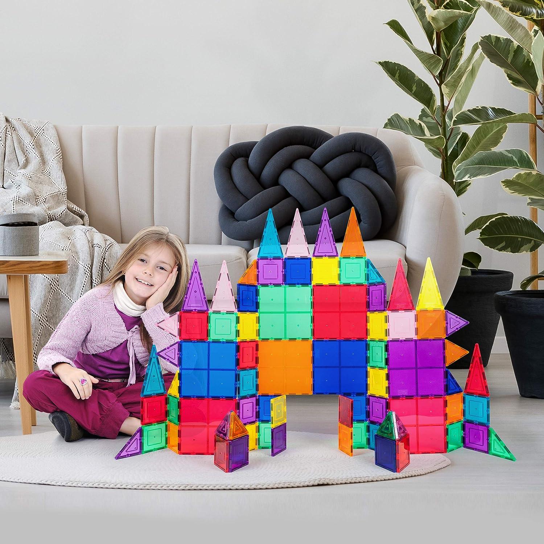 PicassoTiles 100 Piece Set 100pcs Magnet Building Tiles Clear Magnetic 3D...