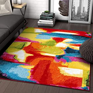 Blooms Multi Abstract Painting Red Orange Yellow Green Modern Brush Stroke Area Rug 5 x 7 (5'3
