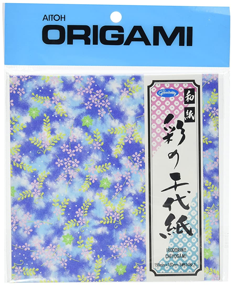 Aitoh 23-1956 Irodorino Chiyogami Origami Paper, 6-Feet by 6-Inch, 24-Pack