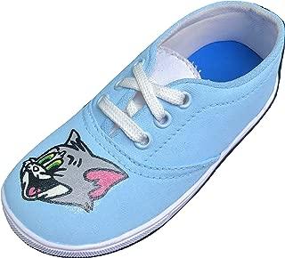 FUNKY N TRENDY Tom and Jerry Handpainted Waterproof Sky Blue Women's Canvas Shoes