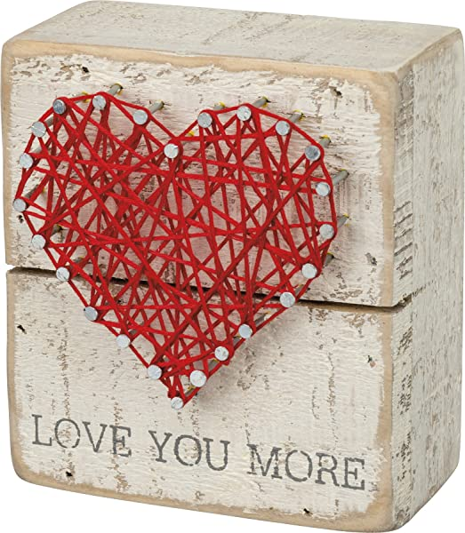 Primitives By Kathy 34248 Rustic White String Art Box Sign 3 5 X 4 Love You More