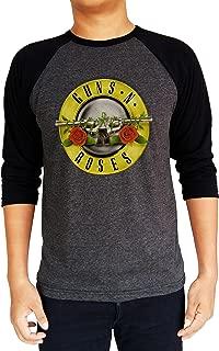 Guns N Roses GNR Distressed Logo Baseball Tee Raglan 3/4 Sleeve T Shirt